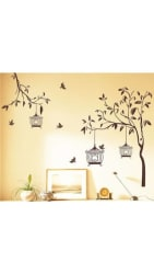 WallTola Wall Decals Tree With Birds And Cages Wall Sticker