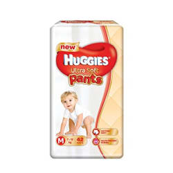 Huggies Ultra Soft Pants Medium Size Premium Diapers (42 Counts)