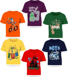 FabTag - Kiddeo Boys Printed Cotton T Shirt Multicolor, Pack of 6