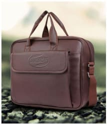 American Tourister Brown P.U. Leather Laptop Bag / Office Bag