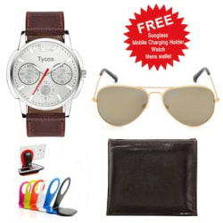 Tycos Combo Of Analog Watch With Free Mens Aviator Sunglass + Mens Wallet + Mobile Charging Holder (Color May Vary)