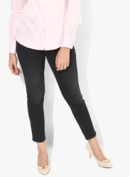 Black Washed Mid Rise Skinny Fit Jeans