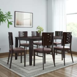 @home by Nilkamal Fern Solid Wood 6 Seater Dining Set (Finish Color - Erin Brown)