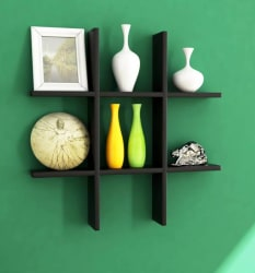 Home Sparkle Plus Shaped MDF Wall Shelf Number of Shelves - 6, Black, Multicolor