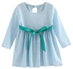 Kids Girls Long Sleeve Linen Dress Spring Summer Princess Dress