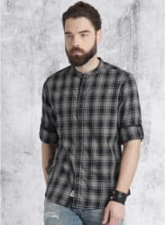 Grey Checked Regular Fit Casual Shirt
