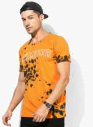 Orange Printed Round Neck T-Shirt