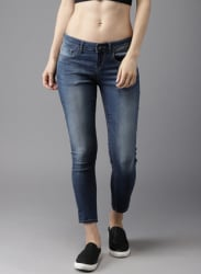 Blue Skinny Fit Mid-Rise Jeans