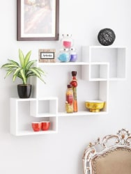 Artesia Inntersecting Wooden Wall Shelf Number of Shelves - 3, White