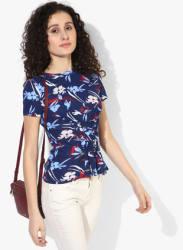 Navy Blue Printed T Shirt