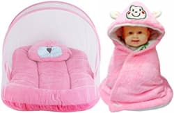 BRANDONN Toddler Mattress with Mosquito Net and Hooded Baby Blanket Pack, 0-3 Months (Pink) - Pack of 2