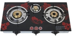 ILU Surya Glass, Stainless Steel Automatic Gas Stove 3 Burners