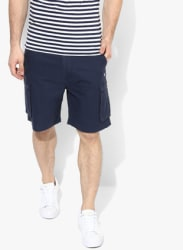 Navy Blue Solid Regular Fit Cargo Shorts