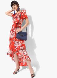 Red Printed Asymmetric Dress