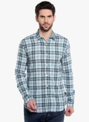 Aqua Blue Checked Slim Fit Casual Shirt