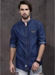 Blue Solid Denim Shirt