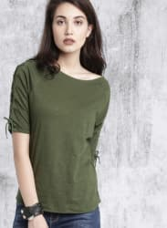 Olive Green Solid Boat Neck T-Shirt