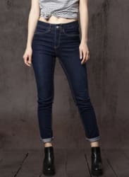 Navy Blue Mid-Rise Regular Fit Jeans