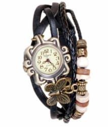Swissrock Black Analog Leather Bracelet Watch For Women