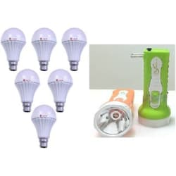 Alpha 9 watt bulbs pack of 6 with 1 Rechargeable Torch free