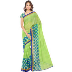 Meia Green Georgette Printed Saree With Blouse