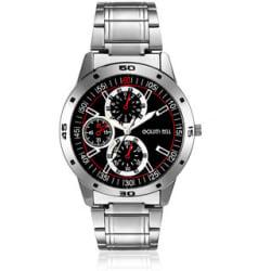 Golden Bell Men S Silver Black Round Metal Strap Wrist Watch (329Gb)