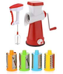 KKart Multi-Functional 4 in 1 Vegetable Cutter Slicer Cheese Shredder, Speedy Rotary Drum Grater Slicer-with Power Free Blender(Red)