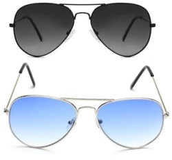 David Martin Silver & Blue Gradient Aviator Sunglass + Free Black & Grey Gradient Aviator (UV PROTECTED) Sunglass