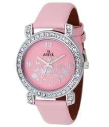 Artek Pink Leather Analog Watch