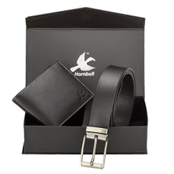 Hornbull Men s Black Wallet and Belt Combo
