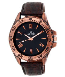 Artek Black Analog Leather Round Watch