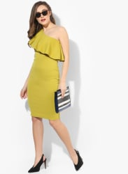 Green Coloured Solid Shift Dress