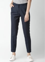 Navy Blue Checked Chinos