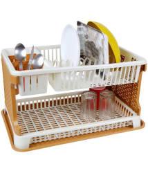 Wudkraft Plastic Kitchen Dish Drainer With Tray/ Bartan Stand/Dish Rack/Kitchen Rack/Kitchen Oragniser - Brown & Beige