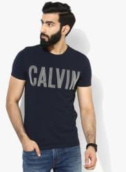 Navy Blue Graphic Slim Fit Round Neck T-Shirt