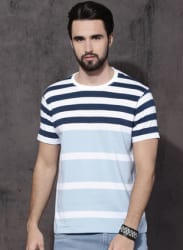Blue Striped Round Neck T-Shirt