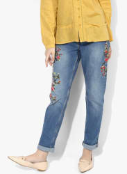 Blue Embroidered Mid Rise Slim Fit Jeans