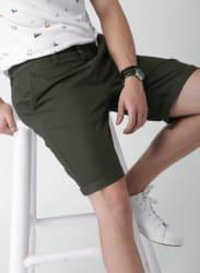 Olive Solid Regular Fit Regular Shorts