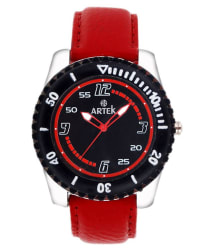 Artek Red Leather Analog Quartz Casual Watch