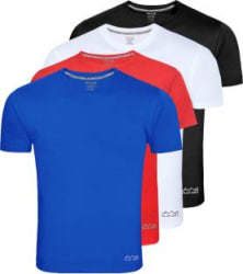 Solid Men Round Neck Multicolor T-Shirt Pack of 4