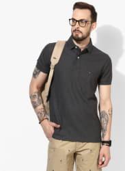 Dark Grey Solid Regular Fit Polo T-Shirt