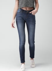 Blue Mid Rise Skinny Fit Fit Jeans