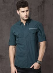 Teal Regular Fit Solid Casual Shirt