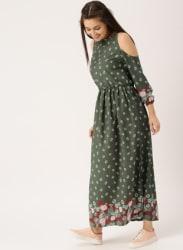 Olive Printed Maxi Dress