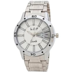 LOF White Round Dial Metal Strap Men s Multi function Analog watch - LW3001