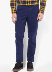 Blue Solid Regular Fit Chinos