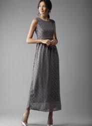 Moda Rapido Women Grey Printed A-Line Dress