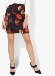 Black Printed Pencil Skirt