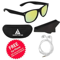 Adam Jones Green Mirrored Wayfarer Matt Finish Sunglasses with Free Ear Phone