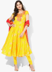 Yellow Embroidered Kurta Churidar Dupatta